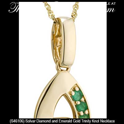 Gold celtic necklace trinity knot with emeralds and diamond gold celtic necklaces 46106c aloadofball Choice Image
