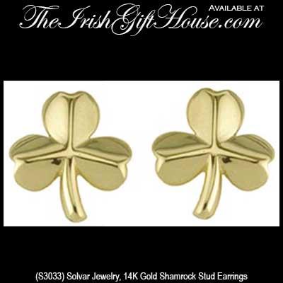 517c32996 gold-shamrock-earrings-3033. Small Shamrock Earrings - Gold - Stud
