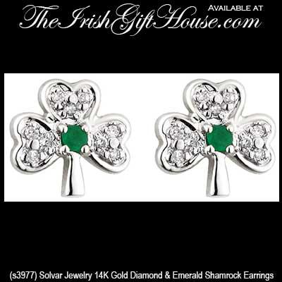 306d84195 White Gold Shamrock Stud Earrings - Emerald - Diamonds