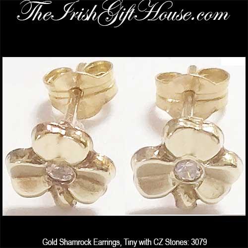 454f8c82e gold-shamrock-earrings-3958. Tiny Shamrock Earrings - Gold - Studs
