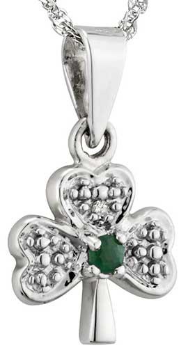 0d92ce202 White Gold Shamrock Necklace - Small - Emerald - Diamonds