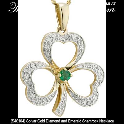 Gold shamrock necklace with an emerald and diamonds gold shamrock necklaces 46104 aloadofball Images