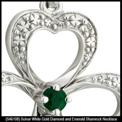 White gold shamrock necklace with an emerald and diamonds gold shamrock necklaces 46108a aloadofball Gallery