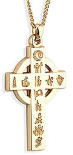 History of Ireland Celtic Cross - Gold - Mens