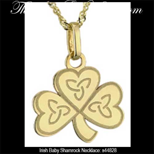 Irish baby shamrock necklace gold irish baby jewelry 44828 aloadofball Images