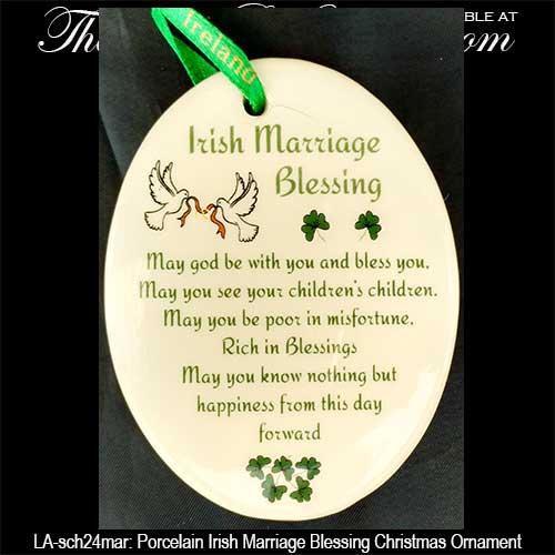 Irish Christmas Ornament: Wedding Blessing with Shamrocks and Doves