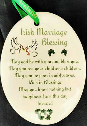 Irish Christmas Ornament Wedding Blessing Shamrocks Doves