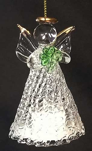 Irish Angel Christmas Ornament Shamrock Light Up