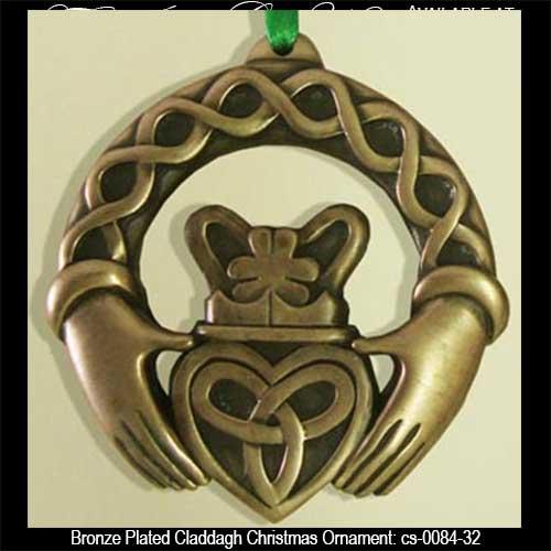 - Irish Christmas Ornament - Claddagh - Bronze