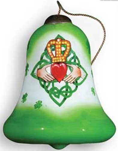 irish-christmas-ornaments-claddagh-painted - Irish Christmas Ornament - Claddagh - Reverse Painted