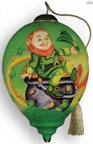 Irish Christmas.Irish Christmas Ornament Leprechaun Reverse Painted