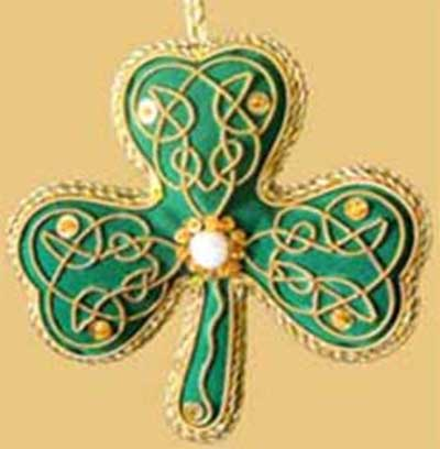 - Irish Christmas Ornament - Shamrock - Velvet