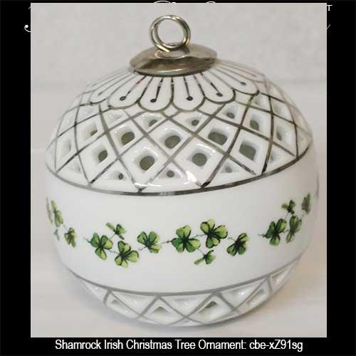 irish-christmas-ornaments-shamrock-xz91sg - Shamrock Tree Ornament - Irish Christmas - Silver Accenting