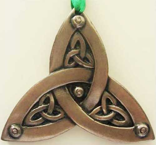 Bronze Plated Hanging Ornament Trinity Shamrock Design