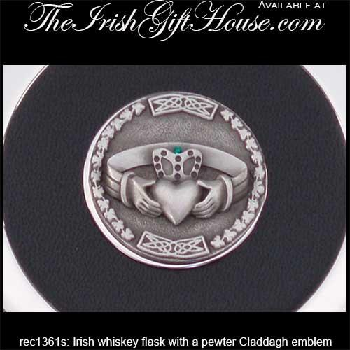 Irish Flask with Pewter Claddagh: The Irish Gift House