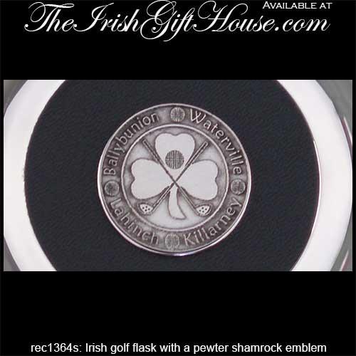 Irish Golf Flask with a Pewter Shamrock: The Irish Gift House
