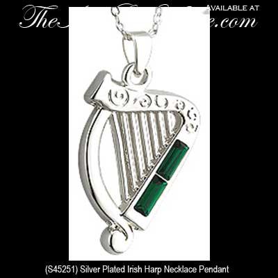 Irish harp necklace silver plated irish harp necklaces 45251 aloadofball Gallery