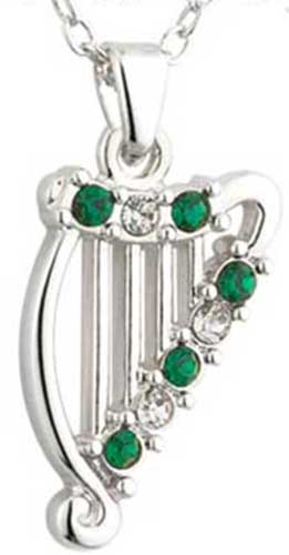 Irish harp necklace silver plated with glass stones irish harp necklaces 45387 aloadofball Gallery