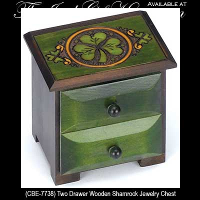 Irish Jewelry Box Wooden Chest