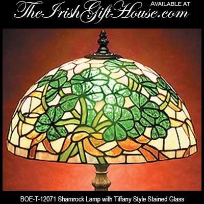 Irish Lamp: Shamrock - Stained Glass