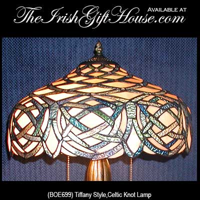 Celtic Knot Irish Lamp, Stained Glass