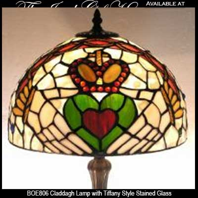 Irish Lamp with Claddagh and Stained Glass