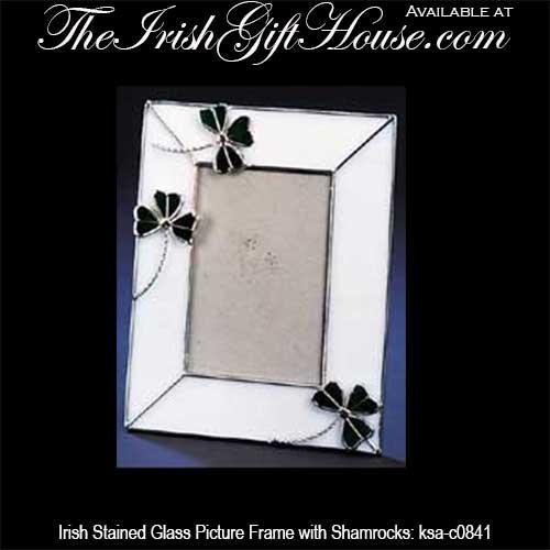 irish picture frame stained glass shamrocks