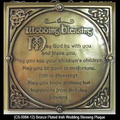 Irish Wedding Blessing Plaque Bronze
