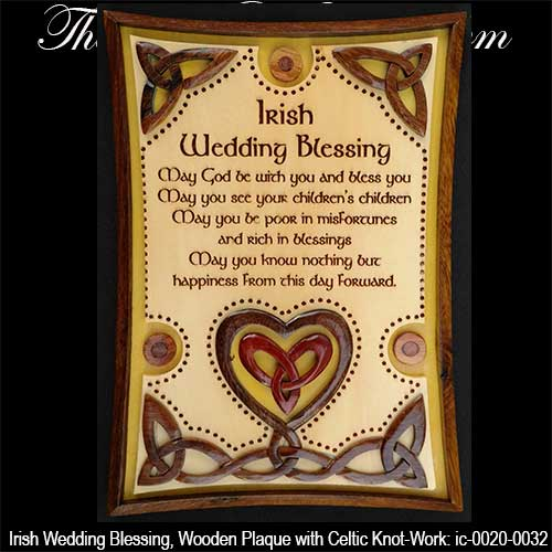 irish wedding blessing plaque with celtic knots