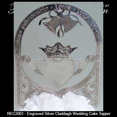celtic wedding cake topper wedding cake topper claddagh in silver 2526
