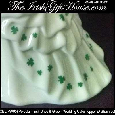 Irish Wedding Cake Topper - Shamrock, Bride and Groom