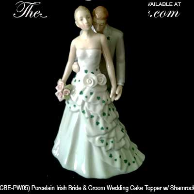 celtic wedding cake topper wedding cake topper shamrock and groom 2526