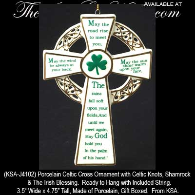 Celtic Cross Ornament Irish Blessing