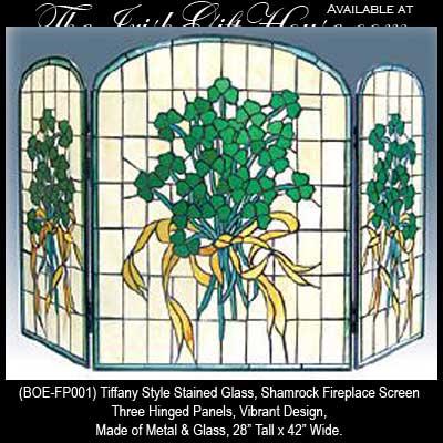 Shamrock Fireplace Screen: Stained Glass - Irish