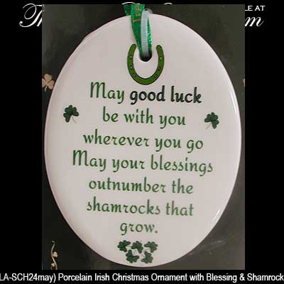 Good Luck Irish Christmas Ornament Irish Blessing
