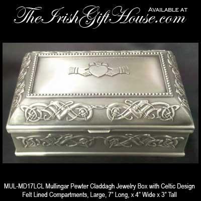 Irish Jewelry Box with Claddagh Mullingar Pewter