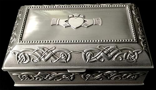 Claddagh Jewelry Box Celtic Knots Pewter Irish Made Mullingar Pewter MD17L-CL