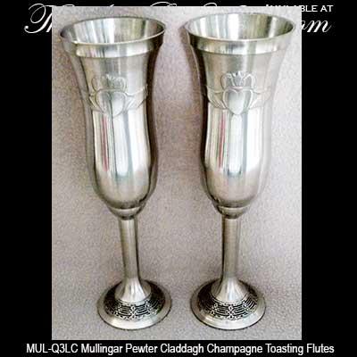 Mullingar Pewter Champagne Flutes Claddagh Q3lca