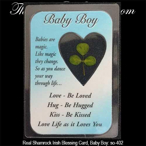 Real Shamrock Irish Baby Blessing Card Boy