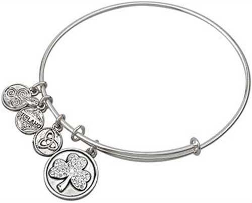 Includes shamrock 4 leaf clover I Love Ireland Irish Gift Ireland Bangle. Ireland bracelet Ireland Country and Claddagh Charms