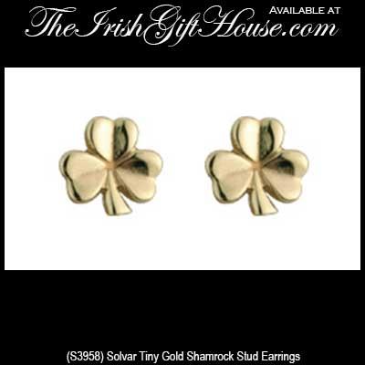 dec45968b Tiny Shamrock Earrings: Gold - Stud
