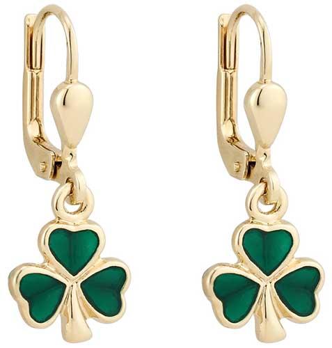 97fba2ccd5fdc Shamrock Earrings - Gold Plated - Dangle - Enamel