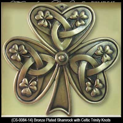 Fabulous Shamrock Wall Plaque with Celtic Knots: Bronze RS25