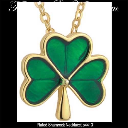 Shamrock pendant gold plated with enamel shamrock necklaces plated 4313 audiocablefo
