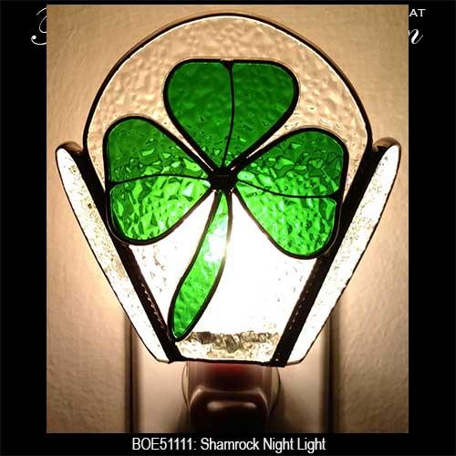 Stained Glass Shamrock Night Light: The Irish Gift House