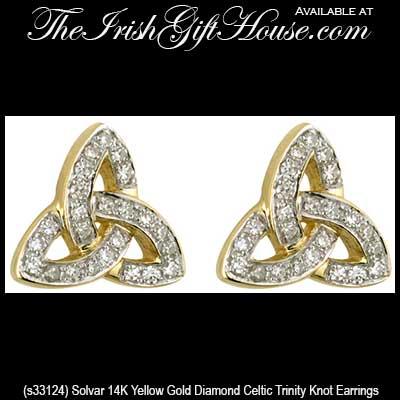 Celtic Trinity Knot Stud Earrings 14k Yellow Gold Diamond Solvar Jewelry