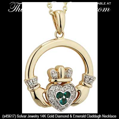 Diamond And Emerald Claddagh Necklace Gold S45617