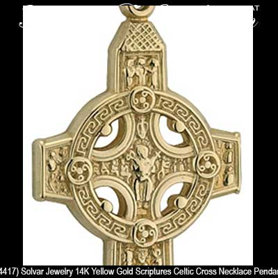 Gold Celtic Cross Pendant Clonmacnoise Cross Of Scriptures