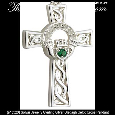 Silver Celtic Cross Necklace Claddagh Solvar
