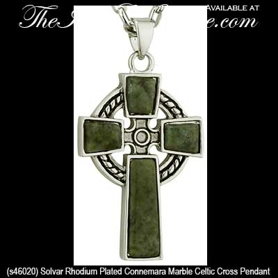 Celtic Cross Necklace Connemara Marble Plated